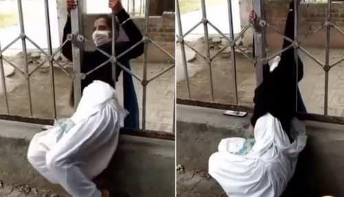 लड़की ने कुछ ऐसे स्कूल से मारा बंक, लोहे की गेटे से यूं चुपके से भागी- देखें Video
