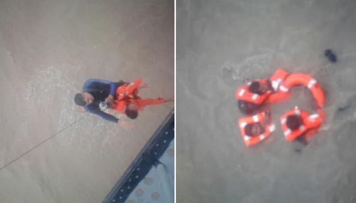 डूब रही नौका से चालक दल के 14 सदस्यों को नौसेना और कोस्ट गार्ड ने बचाया