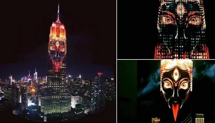न्यूयॉर्क की मशहूर एम्पायर स्टेट बिल्डिंग पर विविध रुप में अवतरित हुई मां काली!