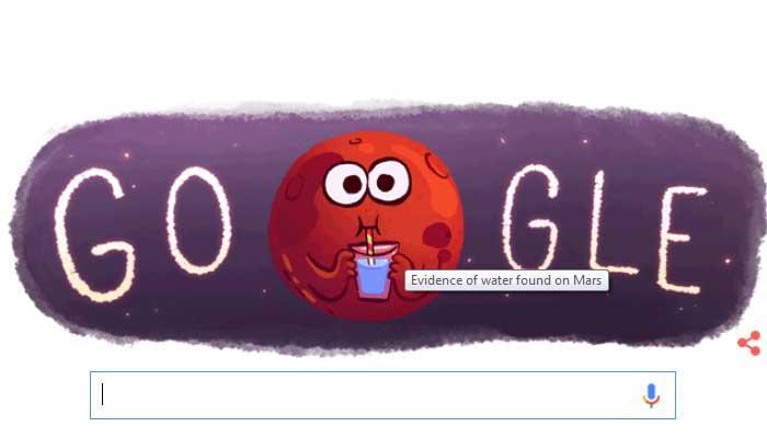 गूगल ने डूडल बनाकर 'मंगल' पर पानी मिलने की खुशी को सेलिब्रेट किया