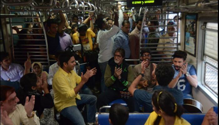 मुंबई की लोकल ट्रेन में सफर पर निकले अमिताभ बच्चन, जमकर गाए गाने