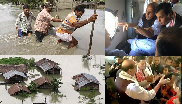 राजनाथ ने असम में बाढ़ की स्थिति का जायजा लिया; बोले-स्थिति इतनी गंभीर है मुझे कल्पना नहीं थी, 29 मरे