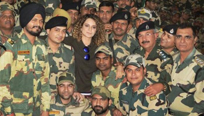 कंगना रनौत ने जम्मू में BSF जवानों से मुलाकात की
