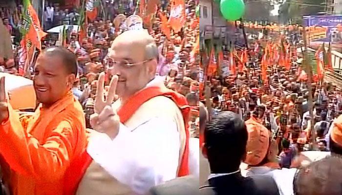 यूपी विधानसभा चुनावः गोरखपुर में अमित शाह का रोड शो, मतदान से पहले शक्ति प्रदर्शन