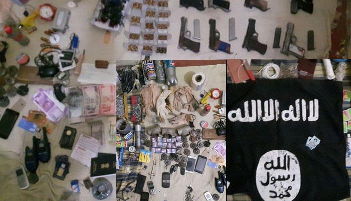 लखनऊ: मारे गए आतंकी के पास से हथियार और विस्फोटक बरामद, ISIS का झंडा भी मिला