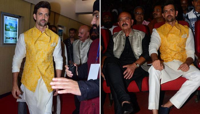 Hrithik Roshan and daddy Rakesh Roshan grace Basanti Chola Diwas