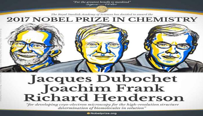 जाक दुबोशे, जोआखिम फ्रैंक और रिचर्ड हेंडर्सन को रसायन विज्ञान का नोबेल