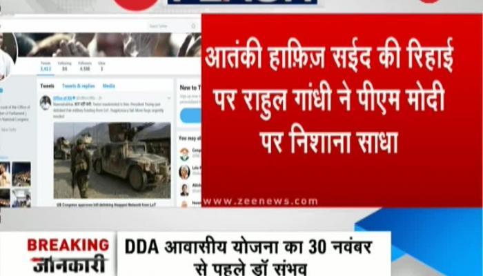 Rahul Gandhi takes a jibe at PM Modi over Hafiz Saeed's release