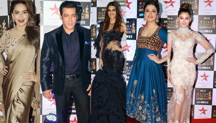 star screen awards: salman khan, madhuri dixit flaunt red carpet with their presence