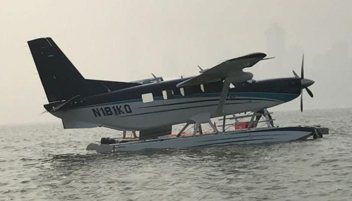 This plane can land both space land and water