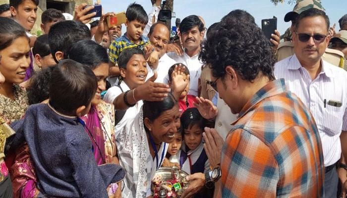 Sachin Tendulkar visits his adopted village Donja in Marathwada