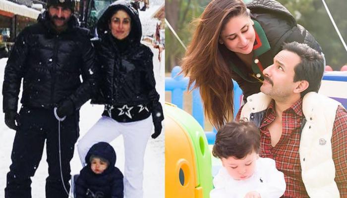 स्विट्जरलैंड की बर्फीली वादियों से Viral हो रही है करीना, सैफ और तैमूर की यह Photo