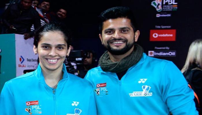 PBL: Suresh Raina cheers for Saina Nehwal during Awadhe Warriors match