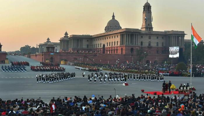 Tri-services bands perform at the Beating Retreat ceremony at Vijay Chowk in New Delhi on 29 January