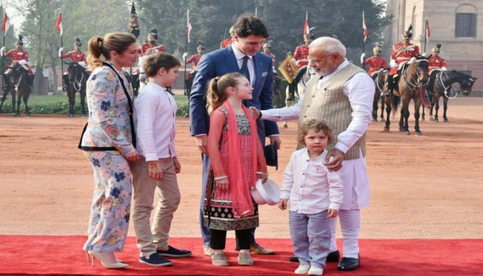 justin trudeau children meet with pm narendra modi cute photos