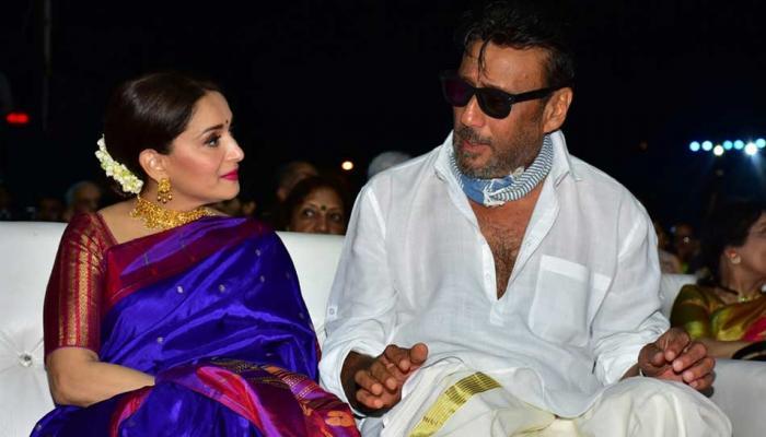 Madhuri Dixit and Jackie Shroff at Zee Chitra Gaurav Awards 2018