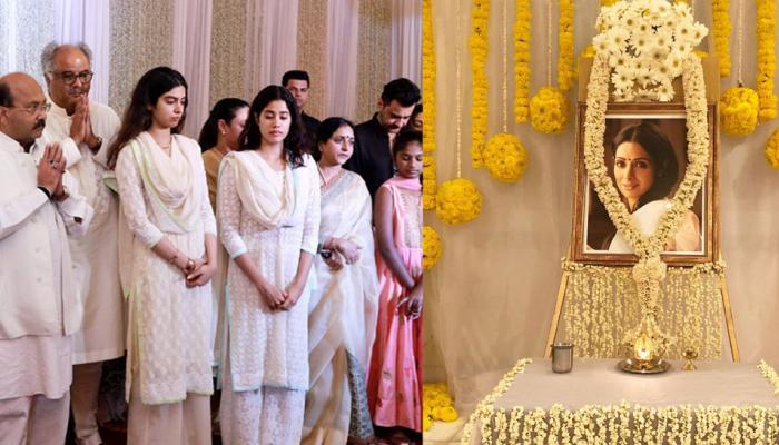 नम आखों के साथ मां श्रीदेवी की प्रार्थना सभा में नजर आईं जाह्नवी और खुशी, कई सितारे भी हुए शामिल