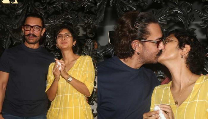 Happy Birthday Aamir Khan celebrates his birthday with wife Kiran Rao With a Kiss
