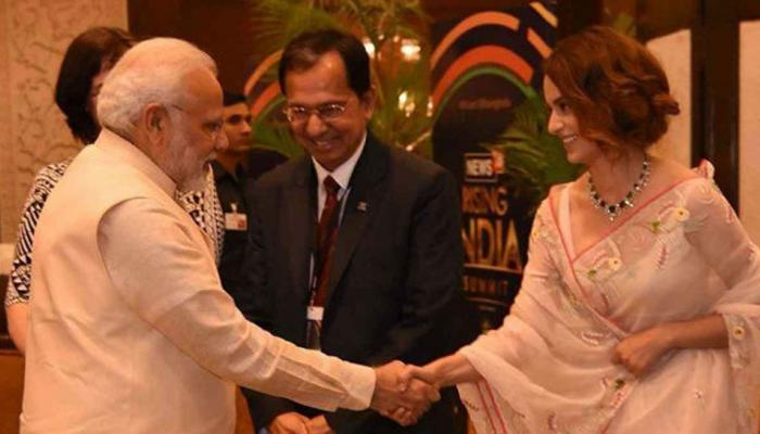 PICS: कुछ इस अंदाज में बॉलीवुड की 'क्वीन' ने पीएम नरेंद्र मोदी से की मुलाकात