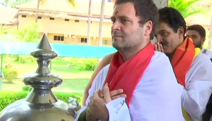 Congress President Rahul Gandhi interacted with the students of the Veda Pathashala in karnatak