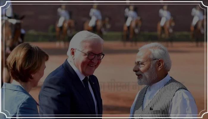 Narender modi welcomed Germany president in delhi