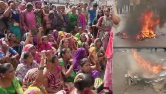 भारत बंद: गुजरात में प्रदर्शनकारियों ने बसों को बनाया निशाना, SC के आदेश की कॉपी जलाई