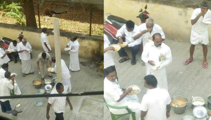 भूख हड़ताल के दौरान AIADMK के नेता हजम करते दिखे बिरयानी, गटक रहे थे शराब