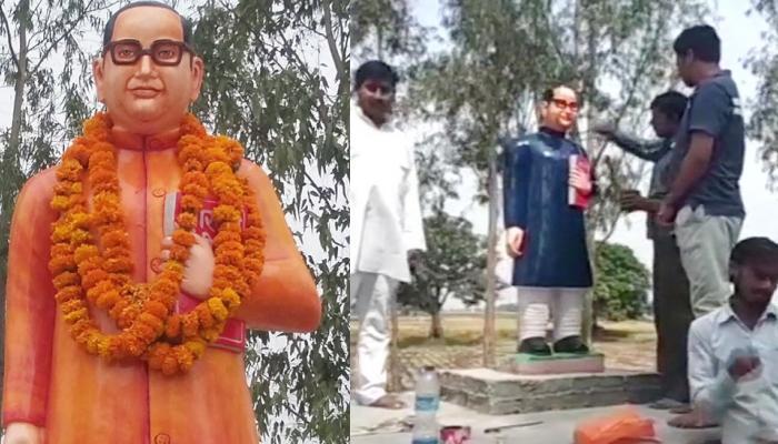 यूपी: विवाद के बाद बदला गया भीमराव आंबेडकर की मूर्ति का रंग, BSP नेता ने चढ़वाया नीला कलर