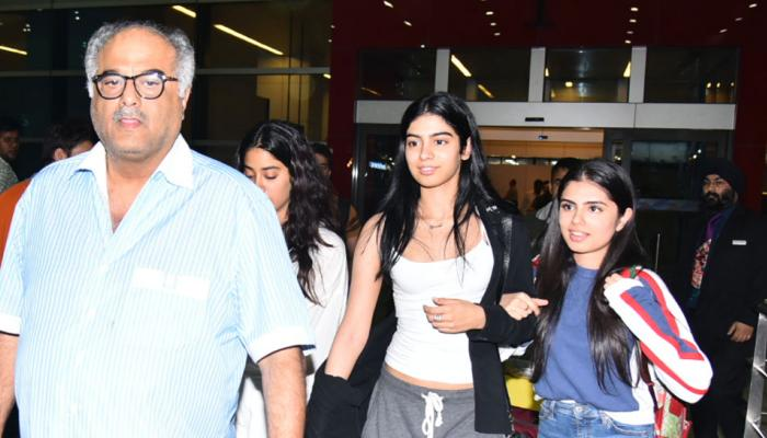 boney kapoor with daughter  jhanvi and khushi spotted on delhi airport, will receive sridevi's national award