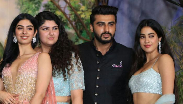 arjun kapoor come together with sister jhanvi and khushi for the first time in sonam's reception