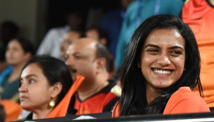 Indian shuttler PV Sindhu during an IPL 2018 match between Hyderabad and Kolkata