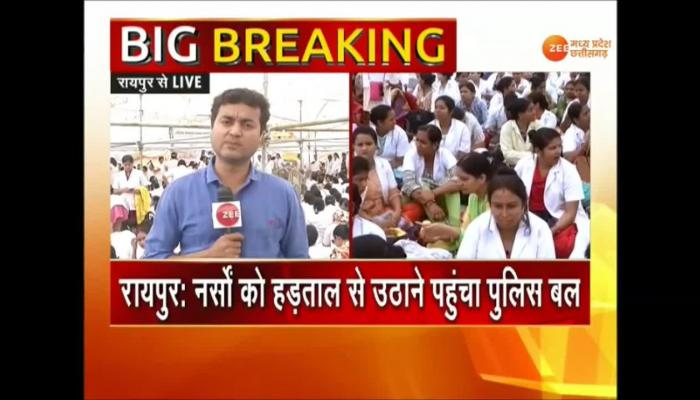 VIDEO: Nurses strike continues in Chhattisgarh even after imposement of essential services maintenance act
