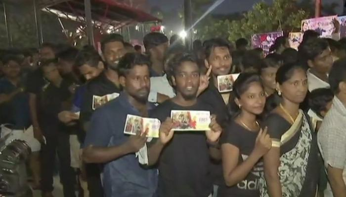 Fans offer milk to actor Rajnikanth's poster, burst crackers to watch the film Kaala