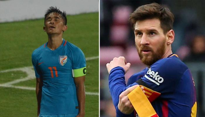 Sunil Chhetri Scores A Brace To Equal Lionel Messi's International Goals Tally