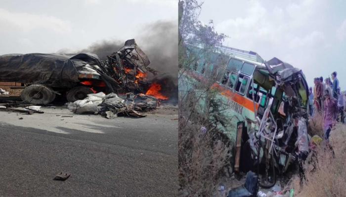 रतलामः भीषण सड़क हादसे में ड्राइवर और क्लीनर सहित जिंदा जले 4 यात्री