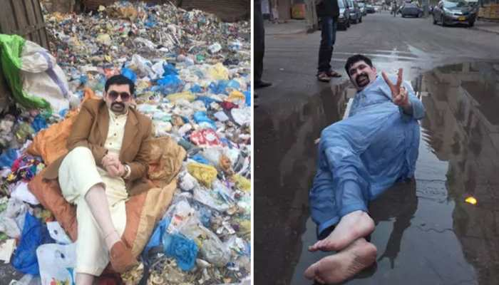 India Today: politician Azaz memon motiwala sits in garbage and sewage to ask for vote in Karachi