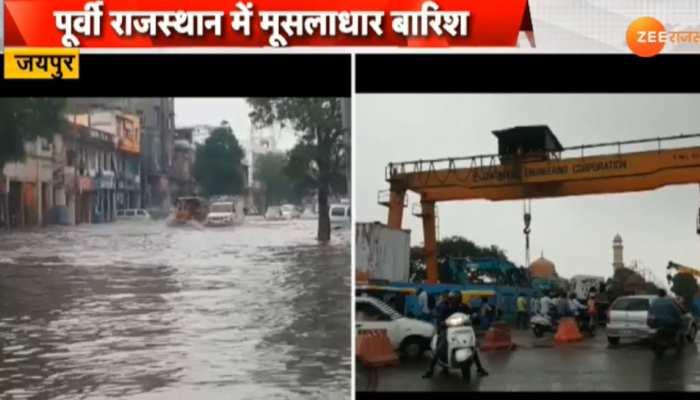 राजस्थान में भारी बारिश के बीच एयरफोर्स-सेना अलर्ट हुए जारी, भारी बारिश से सड़के बनीं समंदर