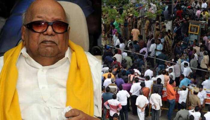 DMK प्रमुख करुणानिधि की हालत स्थिर, हॉस्पिटल के बाहर समर्थकों पर लाठीचार्ज