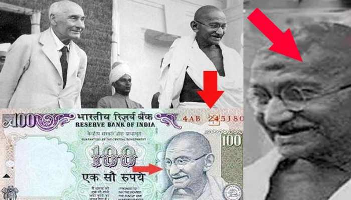 Historical photo of Mahatma Gandhi on Indian currency notes