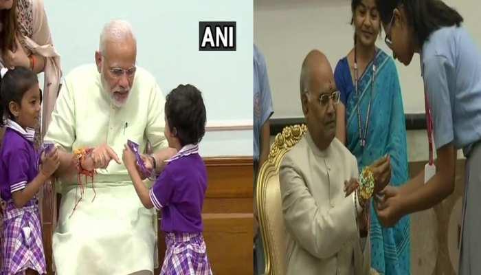 Photos: President Kovind and PM Modi Celebrated raksha bandhan with School Kids
