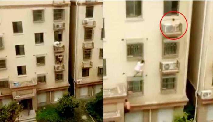 VIDEO: तीसरी मंजिल पर लटका था बच्चा, तभी 'स्पाइडर मैन' ने आकर किया कमाल