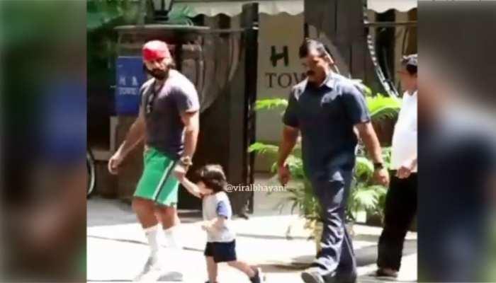 पिता सैफ अली खान के साथ सड़क पर दौड़ने के लिए मजबूर हुए तैमूर, देखें VIDEO