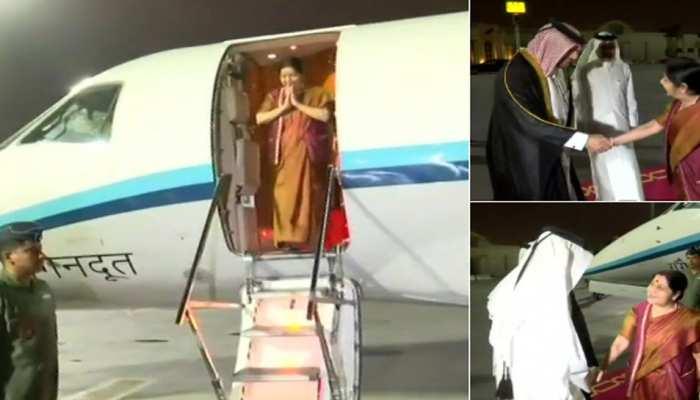 सुषमा स्वराज 2 देशों की यात्रा के पहले चरण में पहुंची कतर