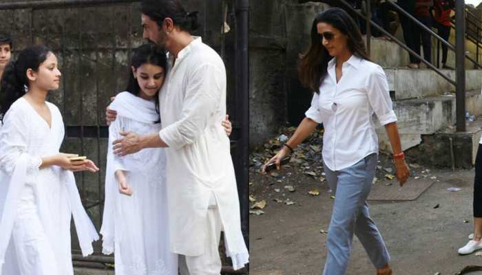 Arjun Rampal mother dies, girlfriend gabriella and ex wife mehr attend funeral