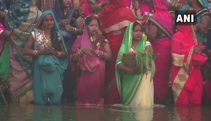 Visuals of Chhath Puja celebrations from Patna's Ganga Ghat