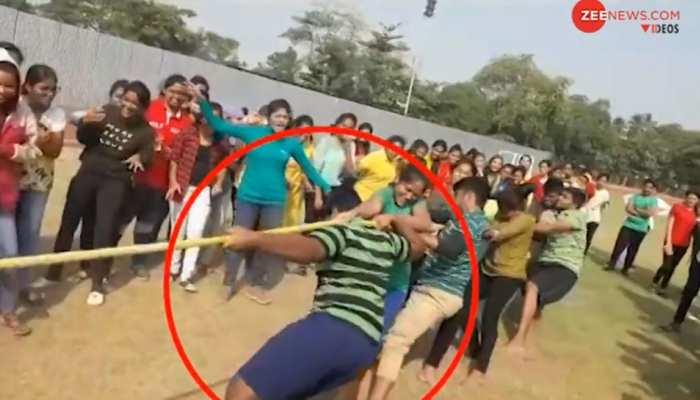 VIDEO: रस्साकशी खेलते-खेलते जमीन पर अचानक गिरा छात्र और चली गई जान