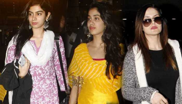 PHOTOS: tiger shroff and disha patani, janhvi kapoor, khushi kapoor, boney kapoor Spotted At Airport