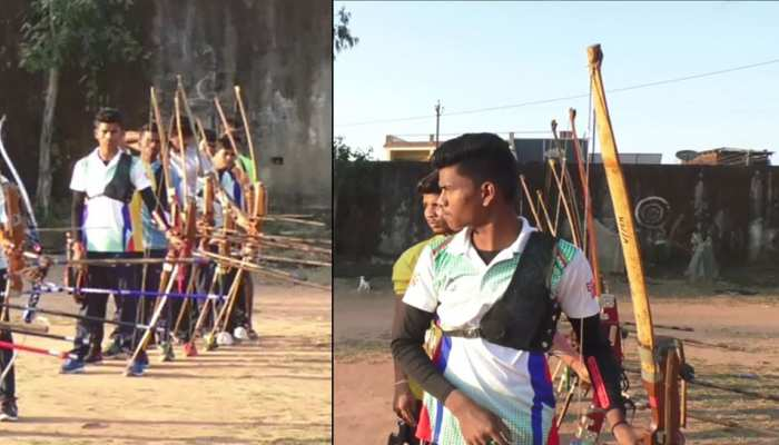 ITBP personnel are learning archery for tribal childrent