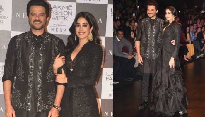 Anil Kapoor walks the ramp with Janhvi Kapoor at Lakme Fashion Week Mumbai