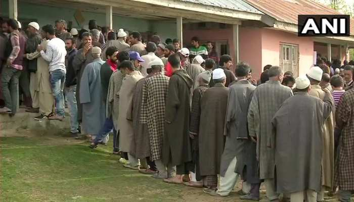 Jammu Kashmir: People queue at polling booth to cast their votes